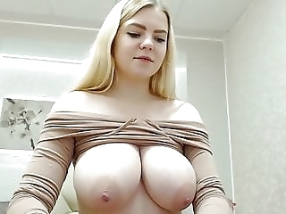 busty blonde student girl shows her tits